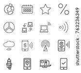 thin line icon set   circle...