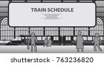 railway station with a... | Shutterstock .eps vector #763236820