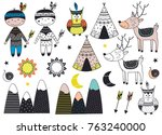 set of isolated tribal boy and... | Shutterstock .eps vector #763240000