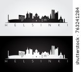 helsinki skyline and landmarks... | Shutterstock .eps vector #763241284