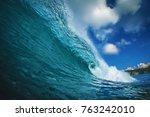 rip curl ocean surfing wave | Shutterstock . vector #763242010
