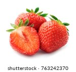strawberry isolated closeup on... | Shutterstock . vector #763242370