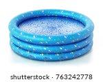 rubber childrens' pool full of...   Shutterstock . vector #763242778