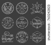 vector set of seafood labels | Shutterstock .eps vector #763242823