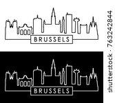 brussels skyline. linear style. ... | Shutterstock .eps vector #763242844