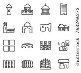 thin line icon set   tower ... | Shutterstock .eps vector #763246273