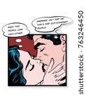 vector kissing lovers.... | Shutterstock .eps vector #763246450