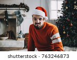 funny picture of a bearded guy... | Shutterstock . vector #763246873