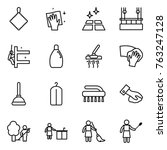 thin line icon set   rag ... | Shutterstock .eps vector #763247128