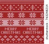 knitted christmas sweater... | Shutterstock .eps vector #763248214