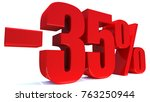 minus 35 percent off 3d sign on ... | Shutterstock . vector #763250944