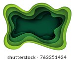 green abstract paper carve... | Shutterstock .eps vector #763251424