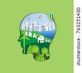 human head thinking environment ... | Shutterstock .eps vector #763251430