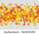 windy flying oak leaf abstract... | Shutterstock .eps vector #763253194