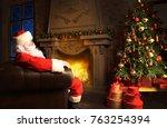 santa claus having a rest in a... | Shutterstock . vector #763254394