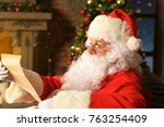 portrait of happy santa claus... | Shutterstock . vector #763254409