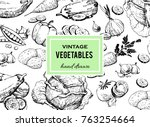 set of vegetables hand drawn.... | Shutterstock .eps vector #763254664