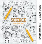 science education doodle set of ... | Shutterstock .eps vector #763258009
