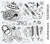 space doodles objects hand... | Shutterstock .eps vector #763258024
