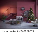 christmas interior  decorated... | Shutterstock . vector #763258099