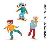 girls having fun in winter  ...   Shutterstock .eps vector #763258900