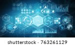 holograms datas on digital... | Shutterstock . vector #763261129