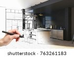 hand drawing unfinished project ... | Shutterstock . vector #763261183
