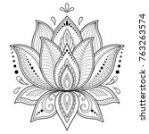 mehndi lotus flower pattern for ... | Shutterstock .eps vector #763263574