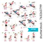 woman workout fitness  aerobic... | Shutterstock .eps vector #763263799