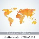 polygonal world map for... | Shutterstock .eps vector #763266154