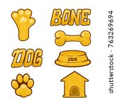 dog theme. set of gold icons... | Shutterstock . vector #763269694