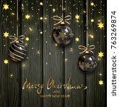 christmas balls with gold stars ... | Shutterstock . vector #763269874