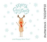 happy reindeer and falling... | Shutterstock . vector #763269910