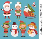 set of new year's characters....   Shutterstock .eps vector #763273183