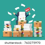 stressed cartoon businessman in ... | Shutterstock . vector #763275970
