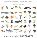 isometric 3d australia and... | Shutterstock .eps vector #763276729