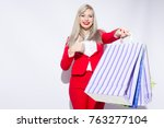 image of young blonde lady in... | Shutterstock . vector #763277104