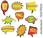 set of nine cartoon comic... | Shutterstock .eps vector #763278310