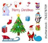 merry christmas. cute character.... | Shutterstock .eps vector #763278709