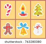 set of bright christmas icons... | Shutterstock .eps vector #763280380