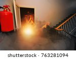fire in the office building | Shutterstock . vector #763281094