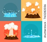Concept Of Blue Geyser And Red...