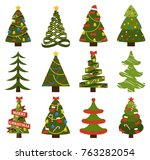 abstract spruces with garlands... | Shutterstock .eps vector #763282054