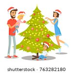 family decorating christmas... | Shutterstock .eps vector #763282180