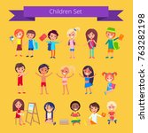 children set isolated vector... | Shutterstock .eps vector #763282198