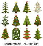 big set of christmas tree... | Shutterstock .eps vector #763284184