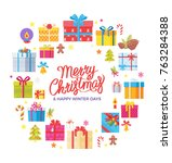 merry christmas and happy... | Shutterstock .eps vector #763284388
