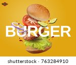 jumping burger ads  delicious... | Shutterstock .eps vector #763284910