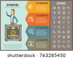 3d printing infographic options ... | Shutterstock .eps vector #763285450