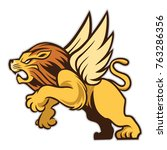 roaring lion has wings that can ... | Shutterstock .eps vector #763286356